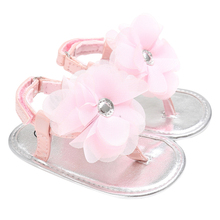 Summer Newborn Girls Princess Sandals Shoes Moccasins Baby Summer Flower Shoe Pink&Yellow Kids Slippers Prewalkers 0-24M Girls