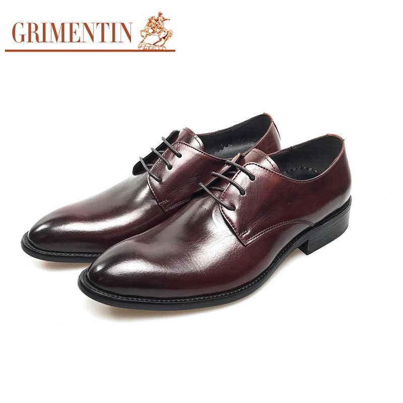 33bf92463 GRIMENTIN высокого качества мужские туфли натуральная кожа итальянский  дизайнер черный коричневый свадебные мужские туфли