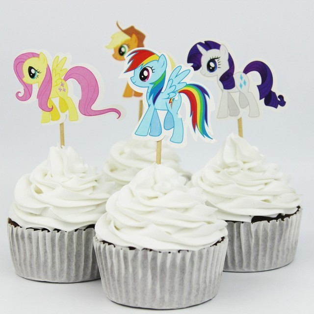 48pcs Lot Hot Popular My Little Pony Cupcake Toppers For Kids Birthday Decoration Party Supplies