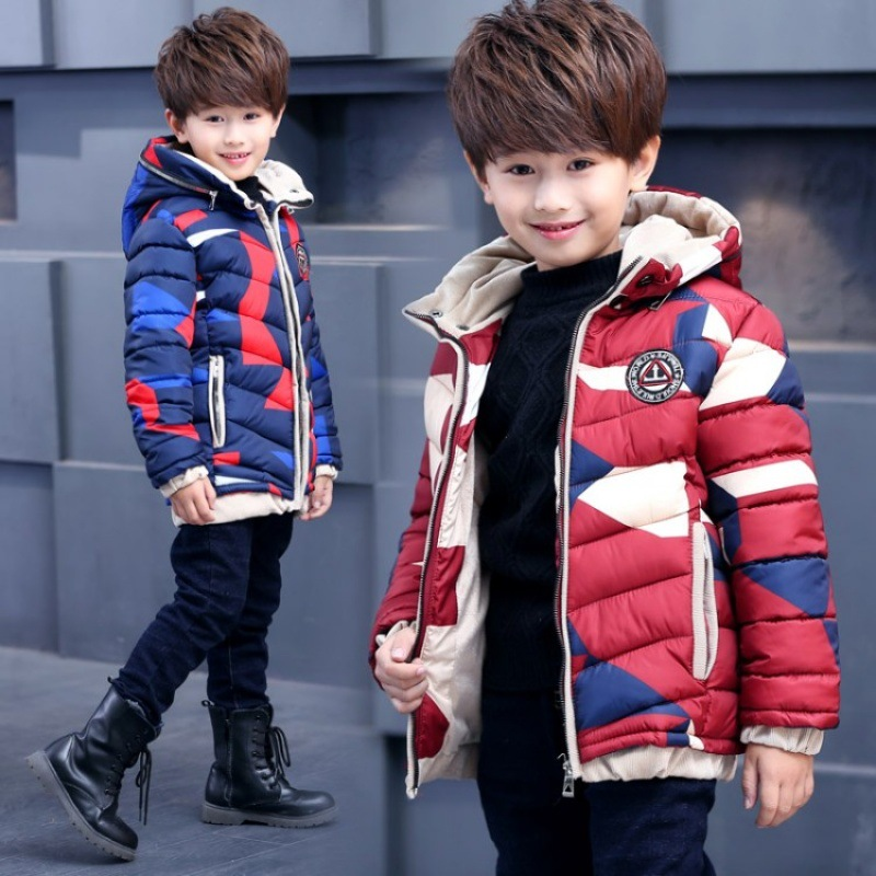 Boy Parkas For Teenager 2018 New Fashion Children Winter Jackets Hooded Outwear Warm Down Cotton-padded Coats Thick Boy Clothes mymei cotton knee pads kids anti slip crawl necessary baby knee protector leg warmers