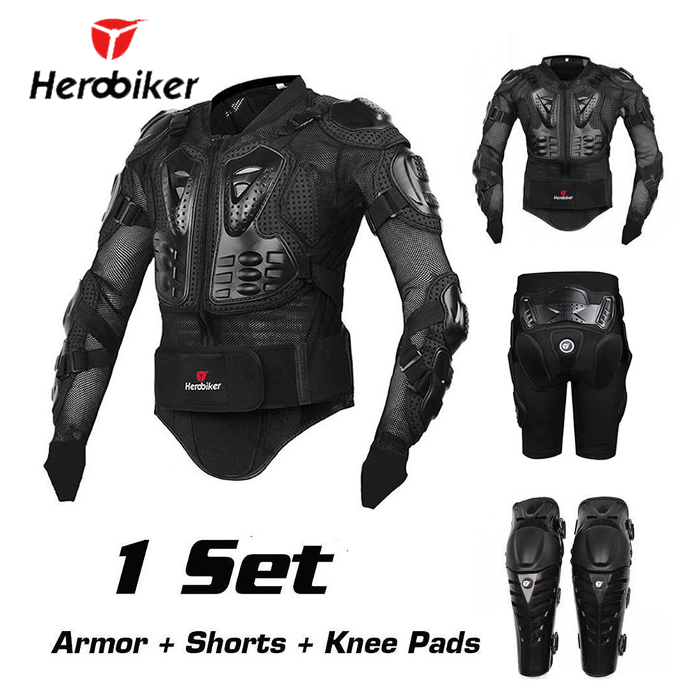 HEROBIKER Motorcycle Protection Motorcycle Armor Moto Protective Gear Motocross Armor Racing Full Body Protector Jacket Knee Pad herobiker back support armor removable