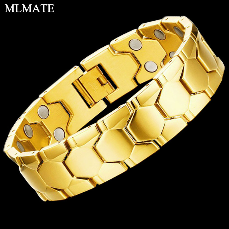 Luxury Fashion Men 316l Stainless Steel Inlay Hematite Magnetic Therapy Health Bracelet