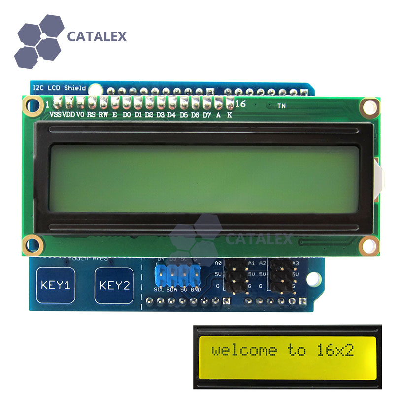 I2C LCD 1602 Shield Display Module With Touch Keys Yellow-green Backlight For Arduino UNO / Mega2560