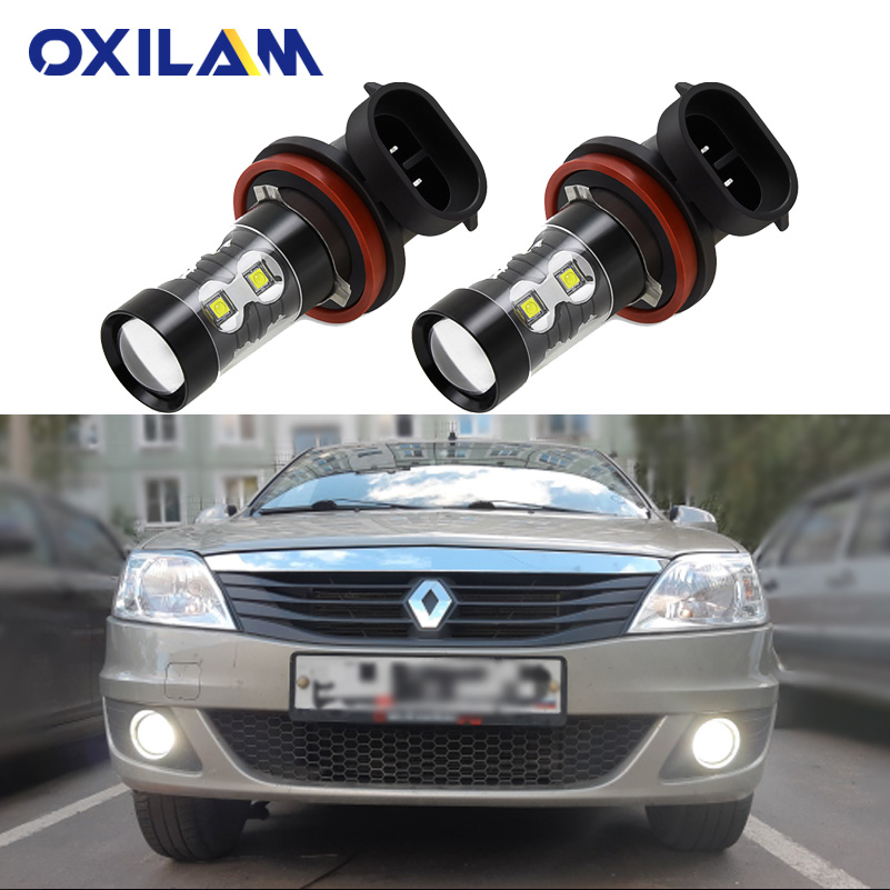 2Pcs PSX24W LED Car Fog Lamp For Renault Reno Logan 2 Laguna Duster Trafic Megane Captur H11 H8 Led Bulb H16 Driving Light DRL