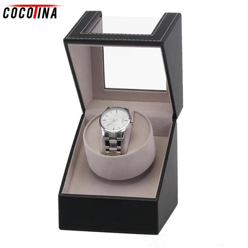 Кожаный Автоматический заводчик для часов Часы EU/US Plug дисплей хранения организатор часы случае наручные подарки Роскошные коробка для часы