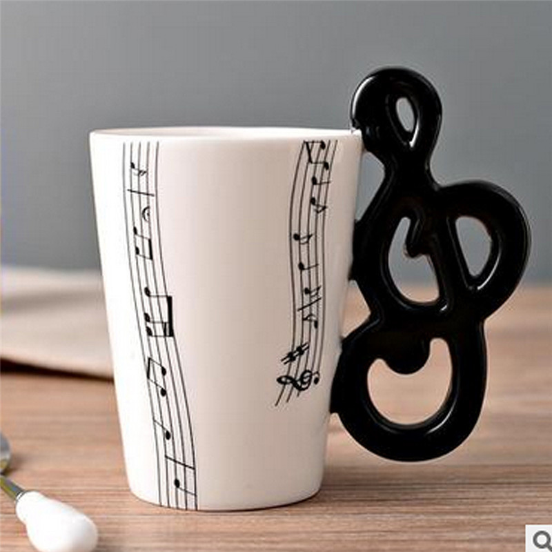 Nuevo alta calidad Taza de cerámica de personalidad música nota leche de jugo de limón taza de café taza de té casa Oficina Vasos regalo único