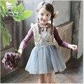 Muchachas del niño del bebé bling tul vestido con volados, 2-8y las muchachas princesa navidad vestidos encaje niñas ropa de otoño / invierno