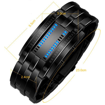Luxury Electronic LED Blue Wrist Quartz Watches 4