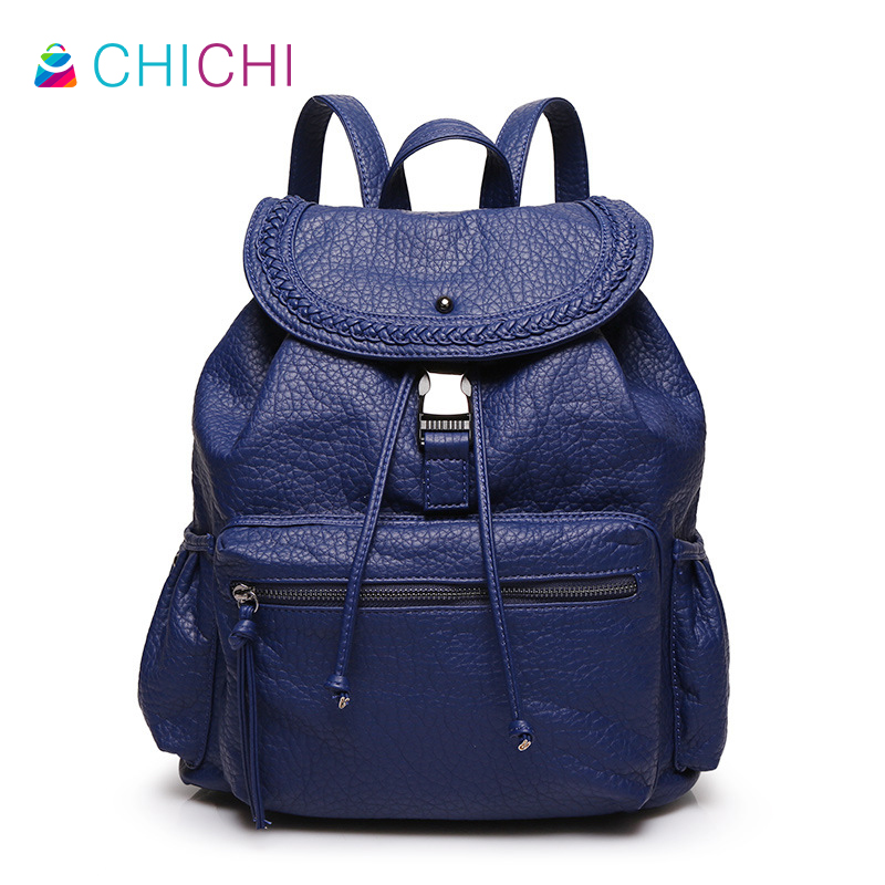 ФОТО CHICHI Women Genuine Leather Backpacks 2016 Casual Ladies Mochila Satchel Vintage Drawstring Female Girls Teenage Travel Bag Sac