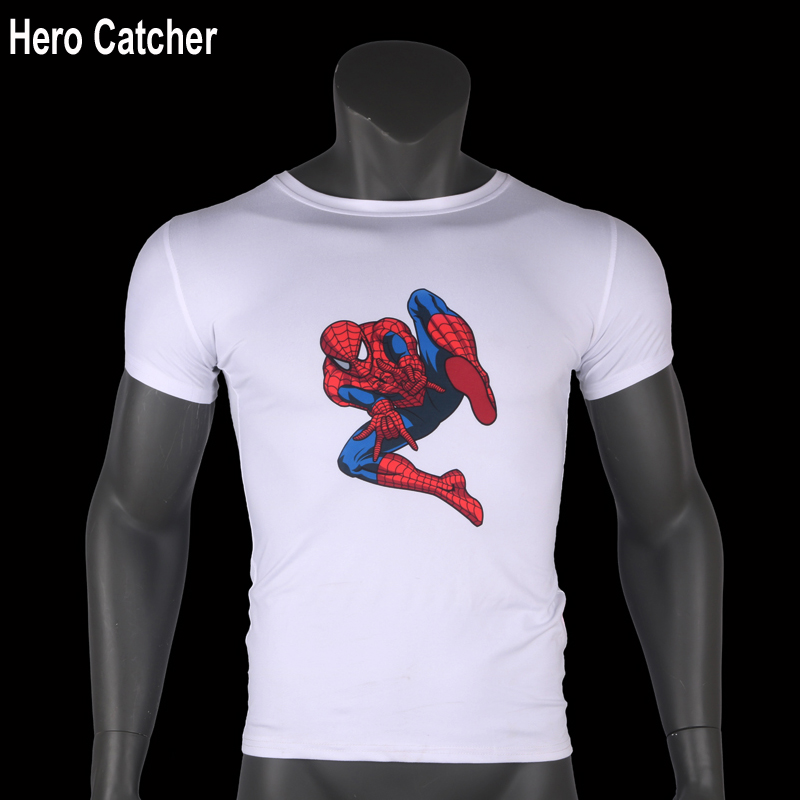 Hero Catcher Short Sleeve Spiderman Printed T Shirt Men T-Shirt White T shirt  Casual Mens O-neck T shirt For Men Tops Tees