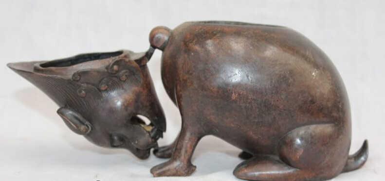 WBY voge gemma S5881 Cinese Viola Bronzo Anno Zodiacale Animale Di Mouse Statua Bruciatore di Incenso Censer