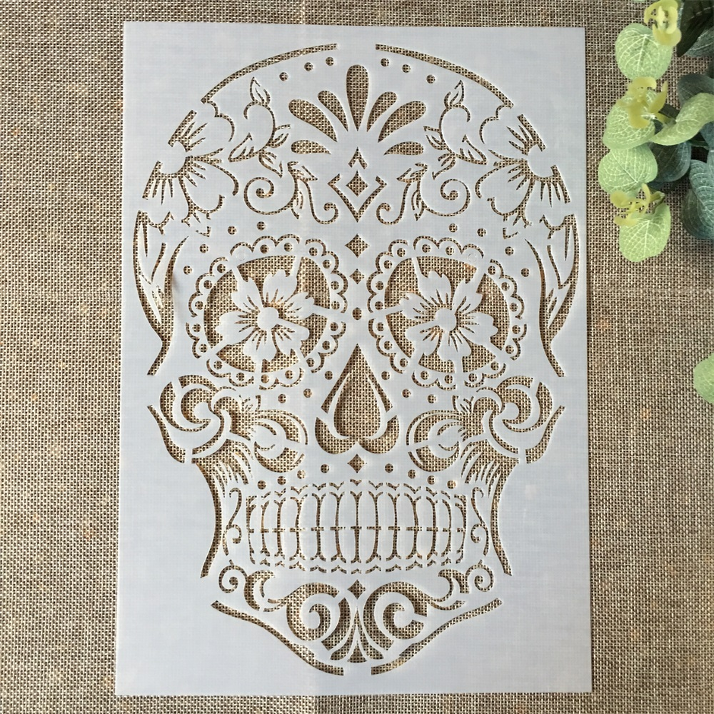 29*21cm Skeleton Skull DIY Layering Stencils Wall Painting Scrapbook Coloring Embossing Album Decorative Paper Card Template