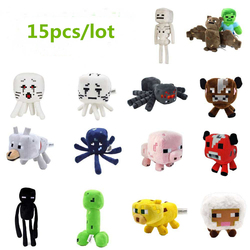 15pcs/lot Minecraft Creeper Enderman Steve Wolf Plush Toy Soft Stuffed Animals Toys Minecraft Cartoon Game Toys for Children