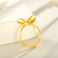 24K Yellow Gold Ring Women's Lucky Rabbit Ears Adjustable Ring