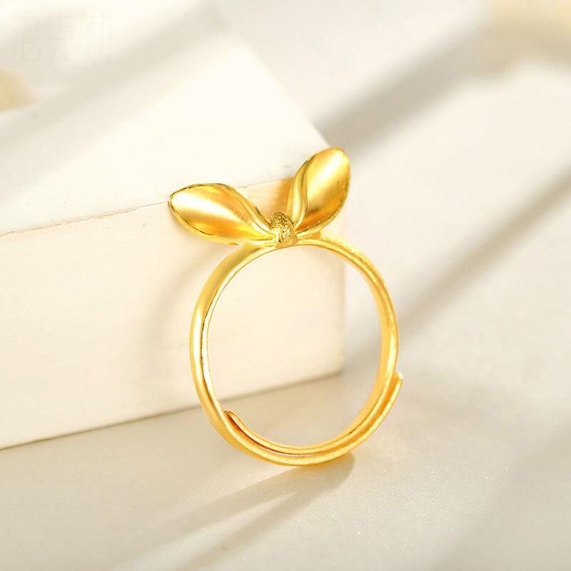 Bague en or jaune 24 K oreilles de lapin porte-bonheur femme anneau réglable