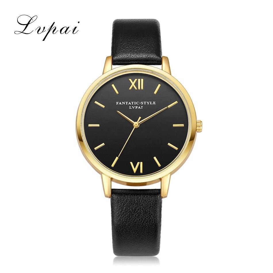 Lvpai Brand New Gold Black Roman Numerals Women Watches Brand Luxury Round Fashion Popular Wristwatch Female Quartz Watch