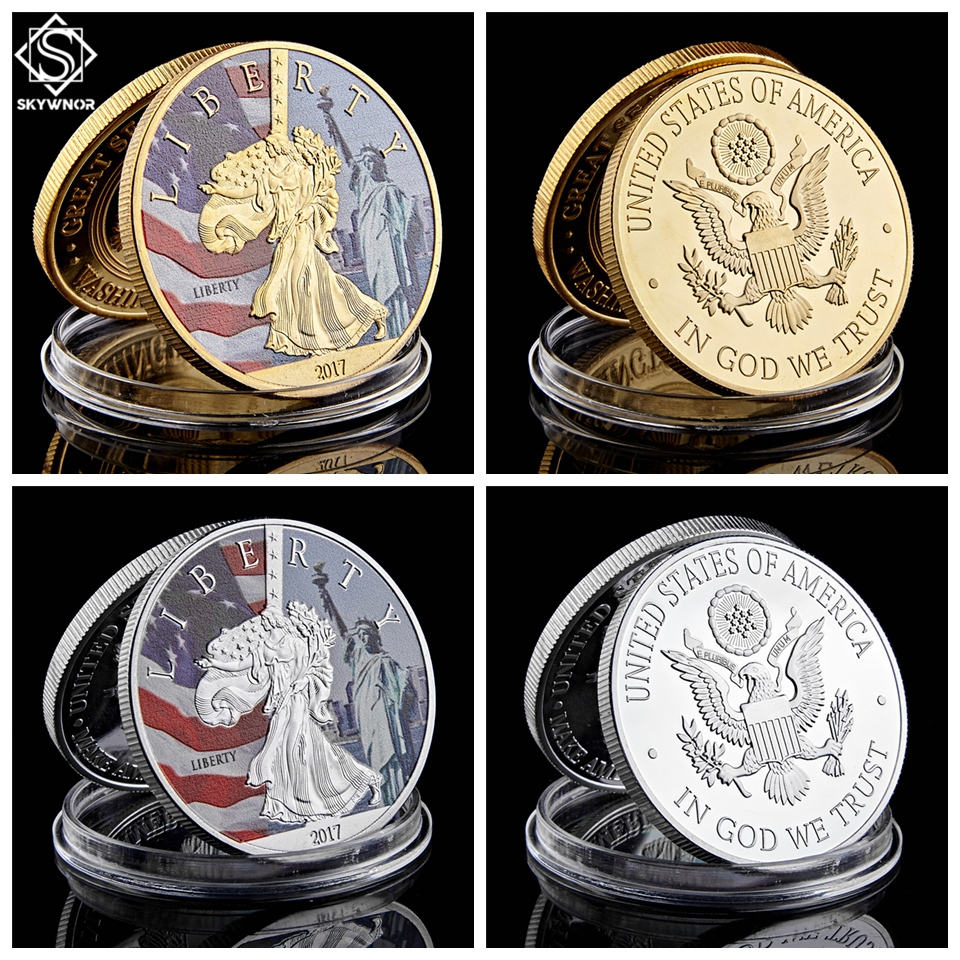 2017 USA New York Lady Statue of Liberty Great Seal of USA Gold Silver Coins with Acrylic Capsule