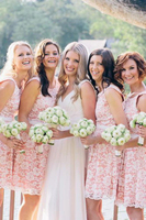 Lovely Pink Short Bridesmaid Dresses 2019 Lace White Ribbon Scoop Open Back Wedding Dresses Bridal Gowns Maid Of Honor Dress