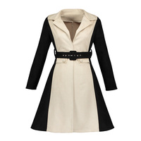 Sisjuly Vintage Autumn Dress Black Patchwork V Neck Dress Full Sleeve Sashes Elegant Knee Length A
