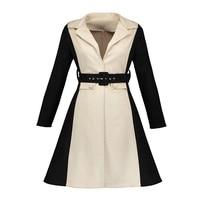 Sisjuly Vintage Autumn Dress Black Patchwork V Neck Dress Full Sleeve Sashes Elegant Knee Length A