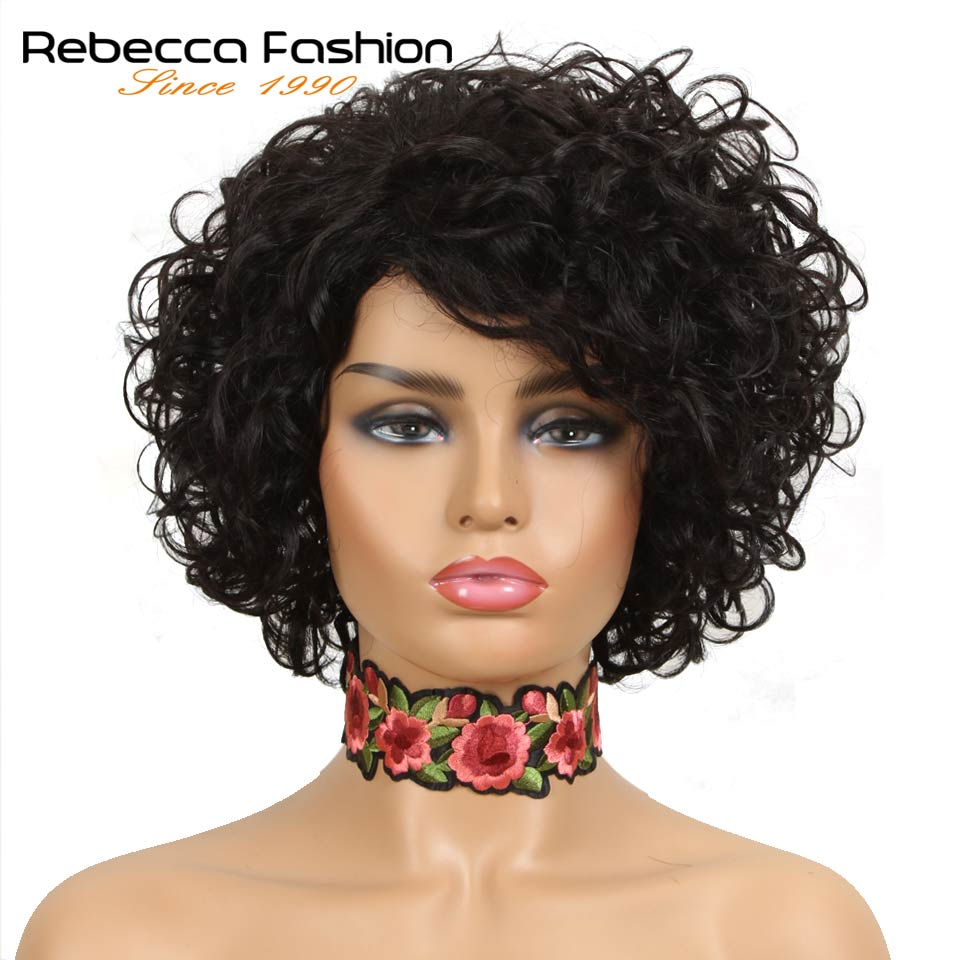 Rebecca Short Wet Wavy Wigs For Black Women Peruvian Remy Loose Curly Human Hair Wig Color