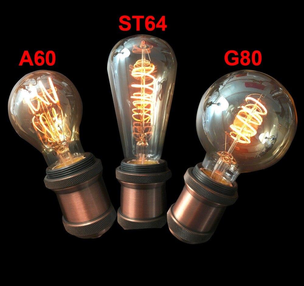 4PCS New Retro Edison 2200K Tinted Glass LED Bulb Flexible Spiral Filament Bulb 4W Dimmable 110v 220v Equal To 40W Edison Lamp a130 big edison led bulb e27 spiral
