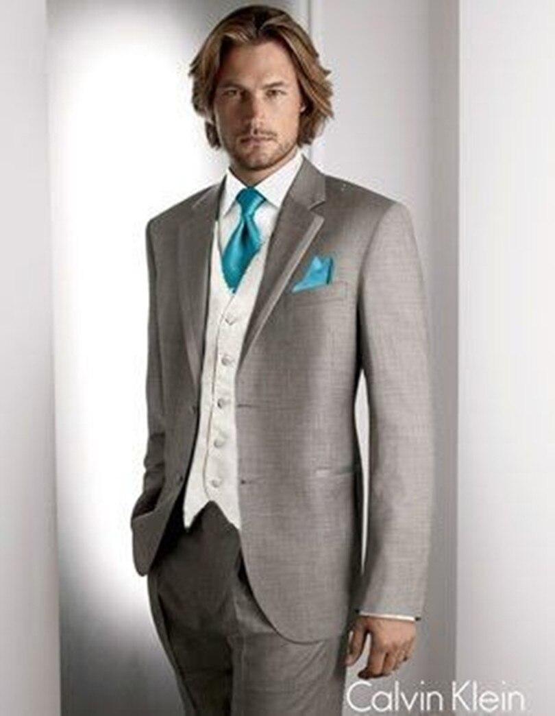 wedding suit for men tuxedo light grey cusom made suit groom wear ...