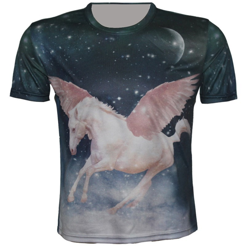 Joyonly Boys Girls T-shirt Summer 2018 Angel White Horse Blue Galaxy Moon Star Print T Shirt Children Cool Tops Tees 2-10 Years