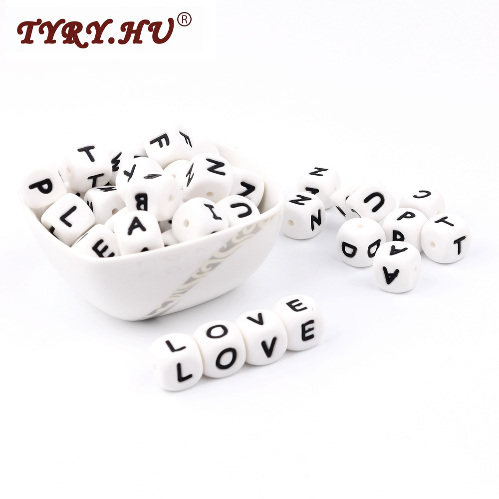 TYRY HU 200pcs English Letters Silicone Beads Food Grade 12mm English Letter Beads Baby Teething Necklace