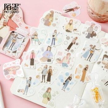 40 unids/pack buscar sueños viajar chica bala diario pegatinas de papelería decorativas Scrapbooking DIY diario álbum Stick etiqueta