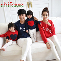 Autumn Winter Mother Father Son Daughter Leisure Fashion Love Print T Shirt Dad Mom Kids O