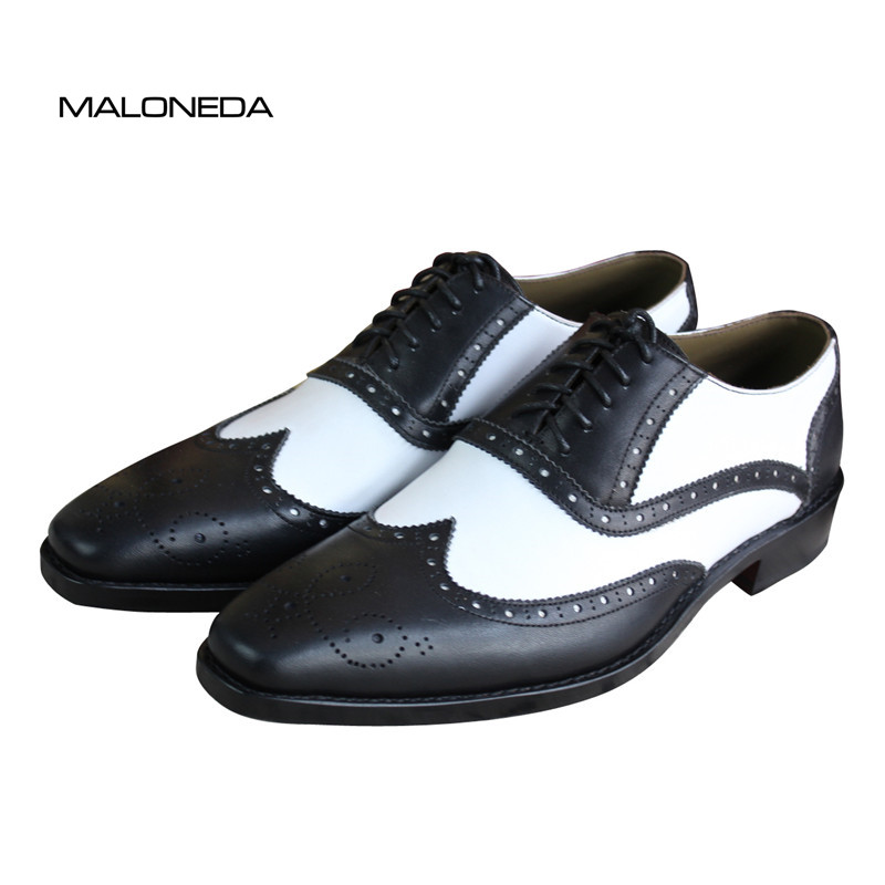 MALONEDA Maßgeschneiderte Mischfarbe Schwarz und Weiß Hnadmade - Herrenschuhe