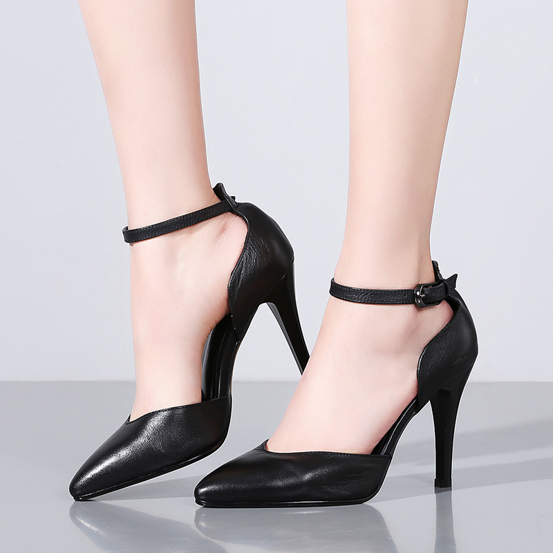 LOVEXSS Pointed Toe Genuine Leather Sandals Sexy Party Shallow Black Ball Pumps Cow Leather Wedding Gladiator High Heeled Shoes lovexss woman wedding pumps black pink red genuine leather high heel shoes 2017 party pointed toe patent leather pumps 2017