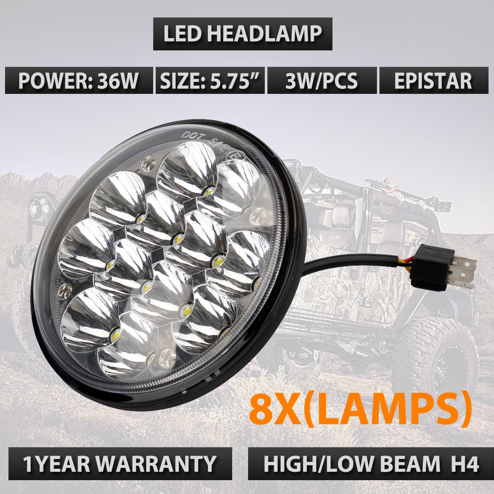 5.75 Round 4000/4040/5506/H5001/H5006 Sealed Beam Hi-Power 36W LED Headlights 12v 24v Round Led car headlights 8pcs/lots mathable 5006