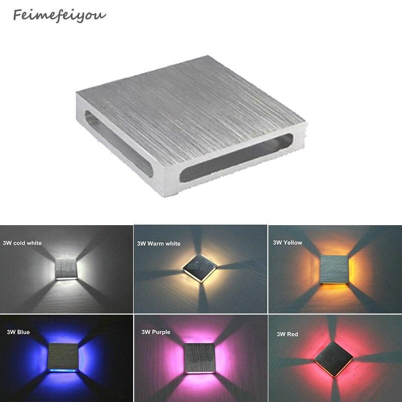 Feimefeiyou Haute qualité Moderne Intérieur 3 W LED Mur Lampe AC110V/220 V matériel En Aluminium Applique chambre Décorer Mur lumière