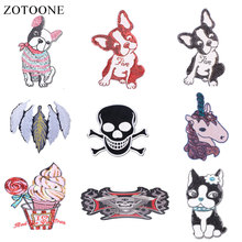 ZOTOONE Dog Flower Patches Skull Stickers Diy Iron on Clothes Heat Transfer Applique Embroidered Applications Cloth Fabric G zotoone round punk patches diy skull stickers iron on clothes heat transfer applique embroidered applications cloth fabric g