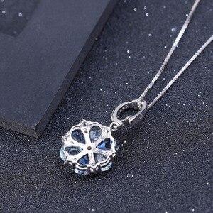 Image 3 - GEMS bale doğal mistik kuvars Sky Blue Topaz taş 925 ayar gümüş çiçek kolye kolye kadınlar için güzel takı