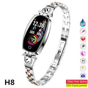 Image 1 - H8 dames montre Bracelet intelligent fréquence cardiaque sphygmomanomètre Fitness Tracker podomètre étanche podomètre IOS Android Smartwatch
