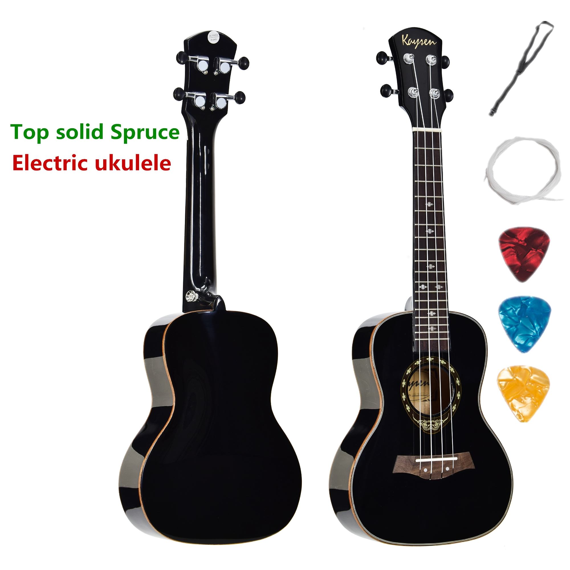 Acoustic Electric Ukulele Top Solid Concert 24 Inch Guitar Ukelele Spruce Highgloss Black 4 Strings Guitarra Pick UP Uke LightAcoustic Electric Ukulele Top Solid Concert 24 Inch Guitar Ukelele Spruce Highgloss Black 4 Strings Guitarra Pick UP Uke Light