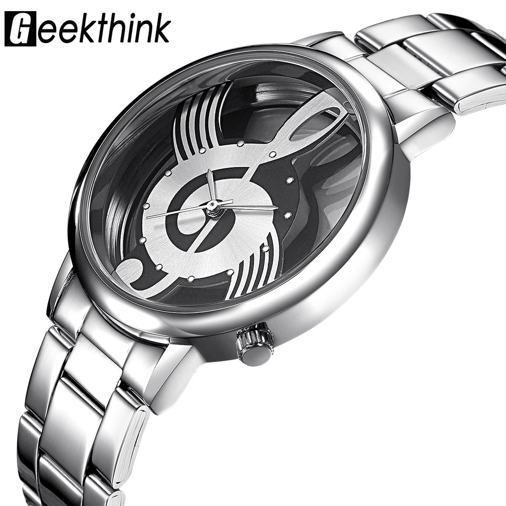 GEEKTHINK Hollow Quartz Watch Kvinnor Luxury Brand Gold Ladies Casual Designer Rostfritt stål Armbandsur Klocka Kvinnliga Flickor Present