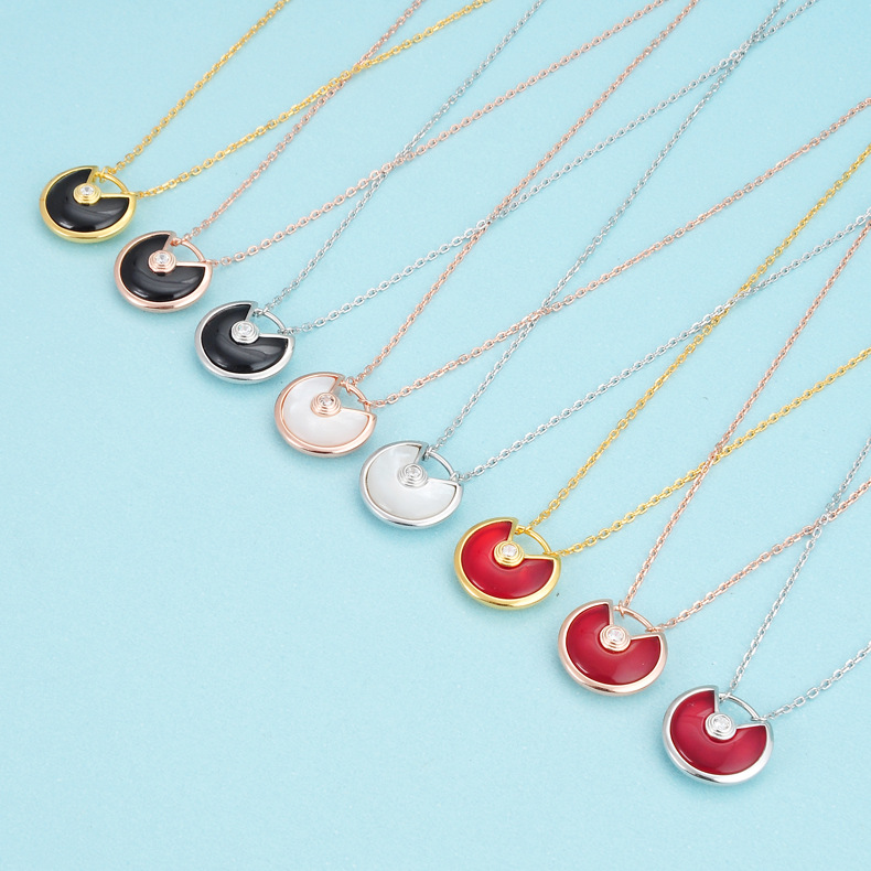 Nice Enamel Charms amulette Necklaces white black red colorful shell stone disc Symbol sign amulet pendant 925 silver jewelry