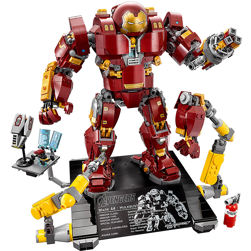 1530Pcs LEGOINGS Marvel Avengers Super Hero Series Iron Man Anti Hulk Mech Model Building Blocks Toy For Boys Brick Blocks Set dc marvel brickheadz cute doll superman batman iron man captain america hulk legoinglys model building block set kids brick toy