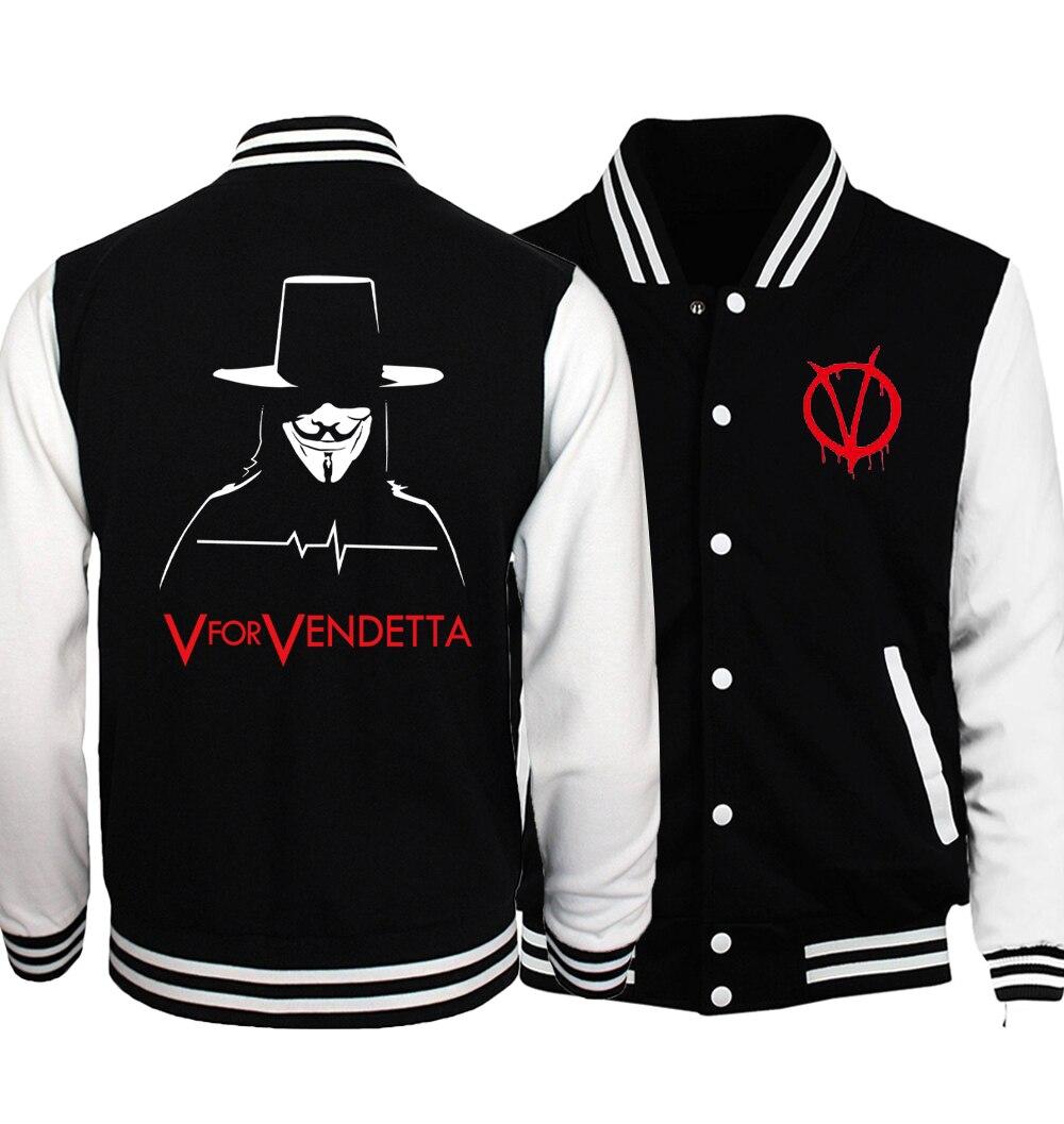 V for Vendetta Jacket Men 2018 Spring high quality Men Baseball Jackets Star Wars Men Coat Fashion Hoodies Men Plus Size S-5XL