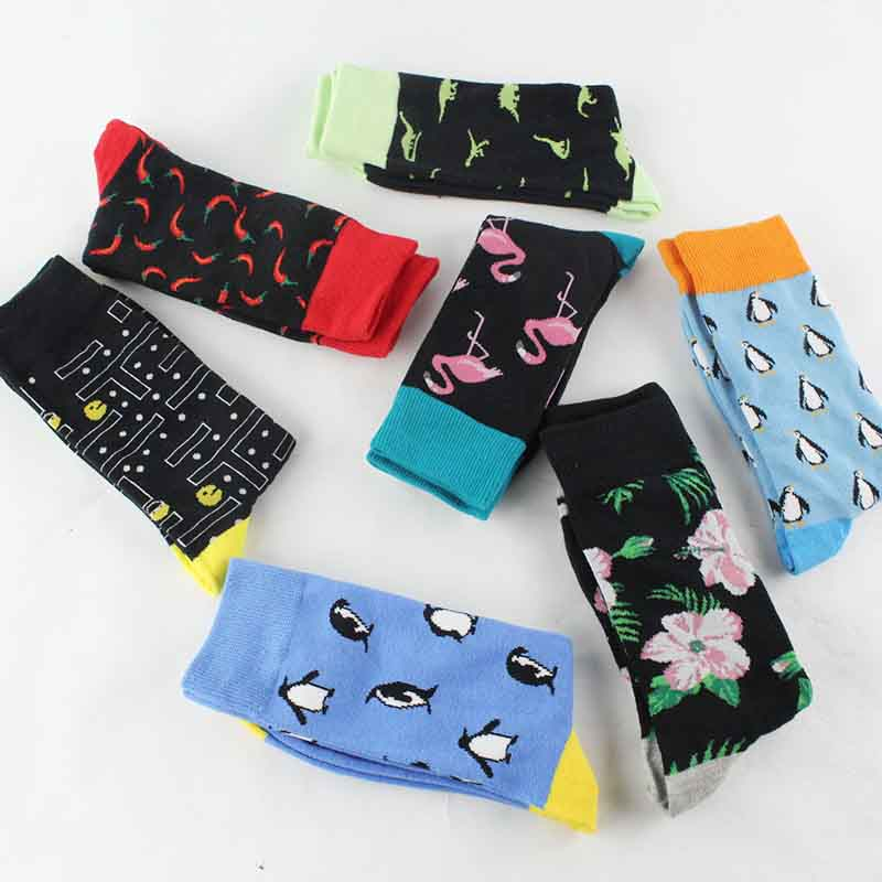 Underwear & Sleepwears eioisapra fashion Hip Hop Yin Yang A/b Men Socks Cartoon Fruit Personality Skateboard Breathable Happy Socks Calcetines Hombre