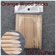 100X дизайн ногтей оранжевый деревянная палочка кутикулы толкатель для удаления маникюра Уход+(NR-WS37