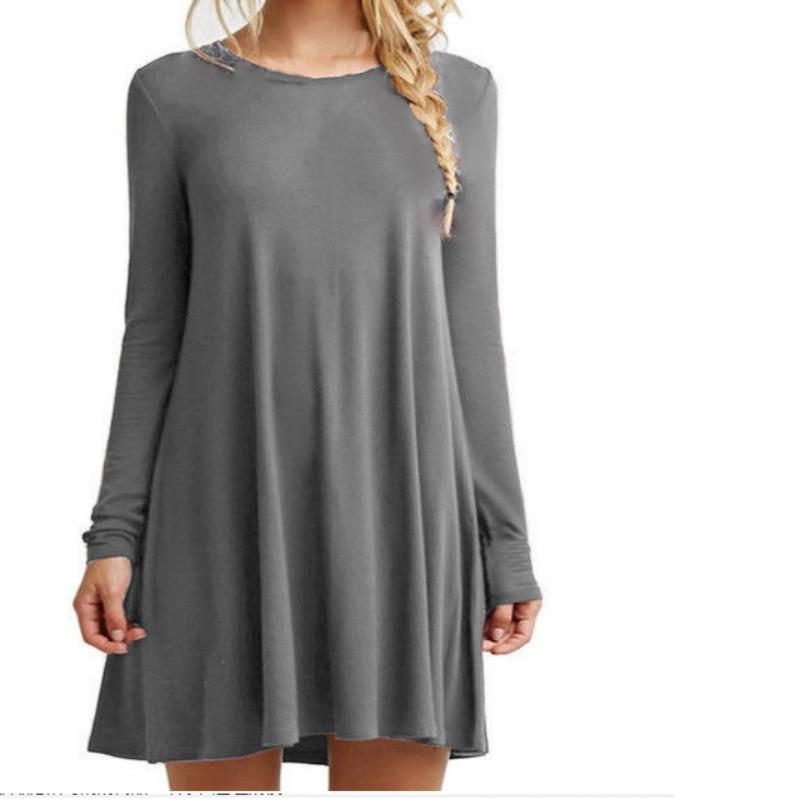 Fashion Cotton Autumn Winter Dress Women Long Sleeve