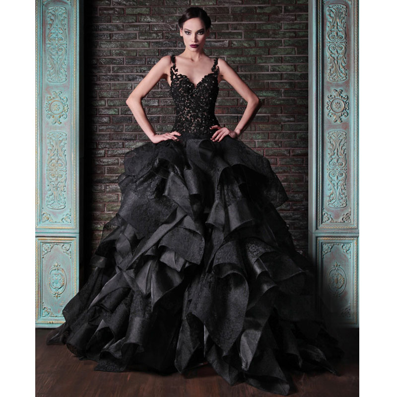 8311aa9294a4c Spaghetti Straps Ruffled Black Long Evening Dresses Ball Gown Prom Dress  With Applique Beads