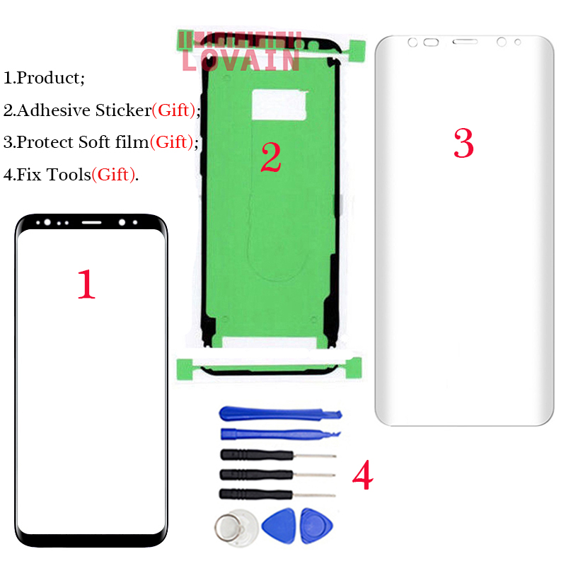 LOVAIN Original for Samsung Galaxy S8 G950 G950F Front Glass 5.8 Touch Screen Lens Cover LCD Outer Panel+Tools+Full Adhesive