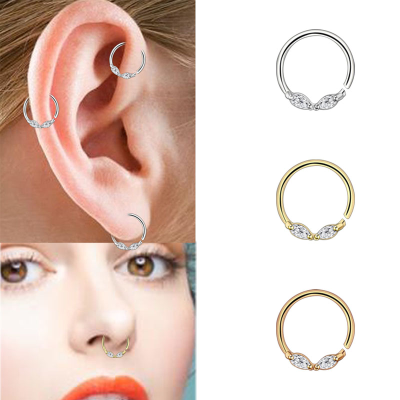 Small Septum Nose Rings Cartilage Earrings Zircon Silver Rose Gold