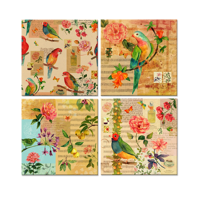 Watercolor Canvas Prints Victorian Bird Rose Flowers Aged Paper ...